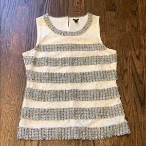 J. Crew top blouse white gray S